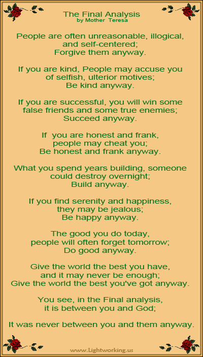 The final analysis by Mother Teresa