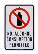 no alcohol consumption permitted sign