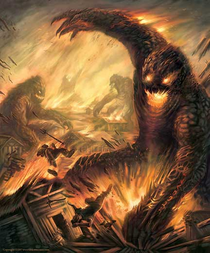 giant monsters destroy a town