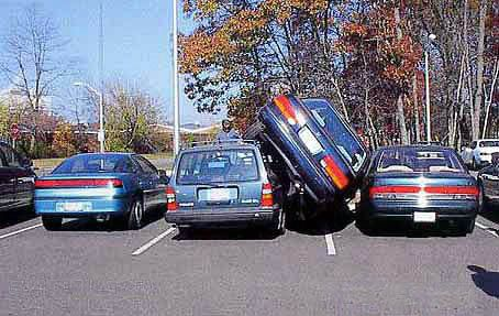 car parked on top of other car