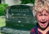 santa claus grave - little boy crying