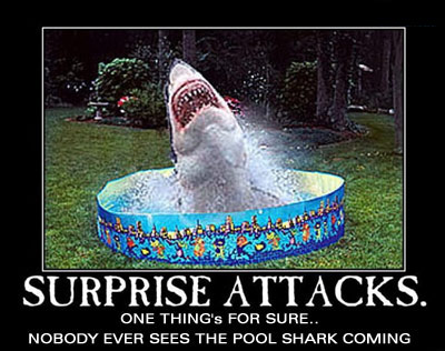 shark surprise attack in kiddie pool