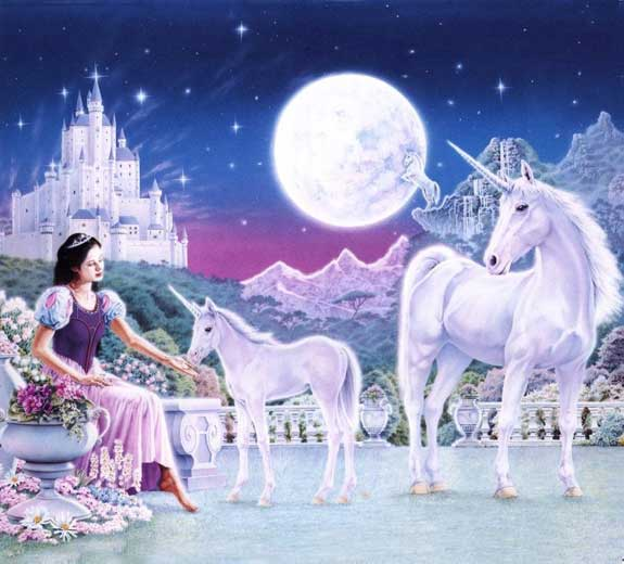 unicorns snow white castle