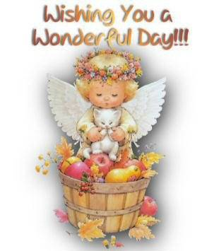 wishing you a wonderful day baby angel with cat