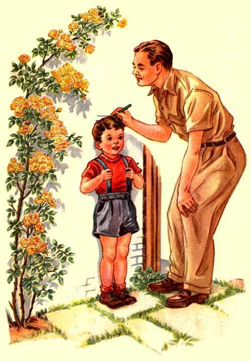 father measure small boy