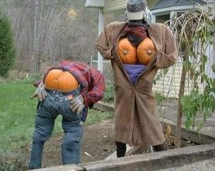 pumpkin people mooning and flashing