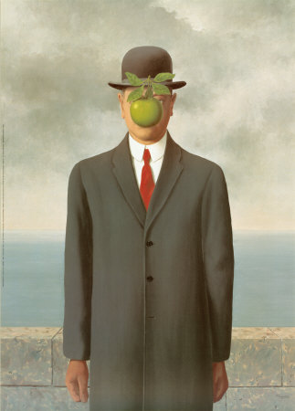 man with apple in front of his face