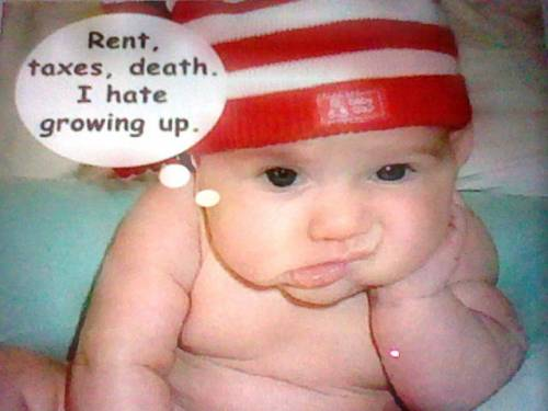 Rent, taxes, death. I hate growing up.
