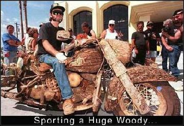 sporting a huge hoody - wooden bike