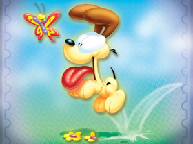 Odie dog with butterfly
