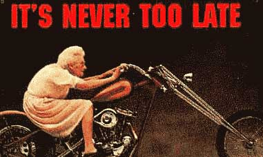 Old woman riding a motorcycle