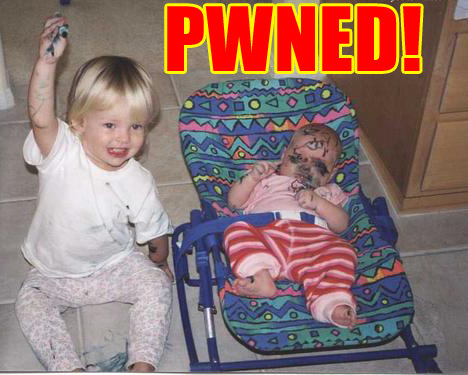 baby is pwned by marker