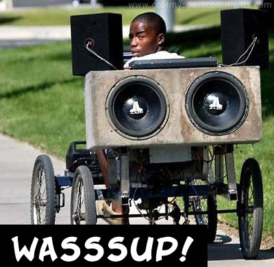 wassup? boy in wheelchair with speakers