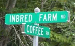inbred farm coffee road signs