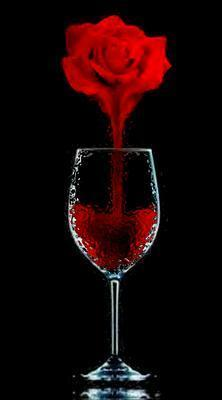 rose dripping blood into glass