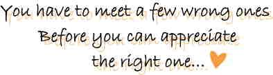 you have to meet a few wrong ones before you can appreciate the right one