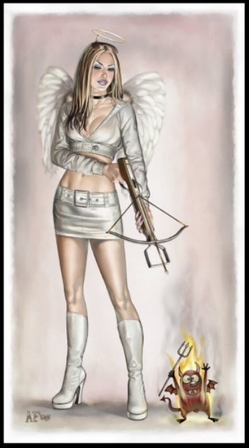 angel with crossbow devil on fire