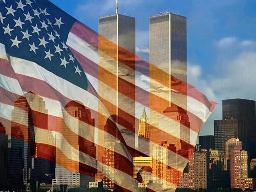 twin towers american flag