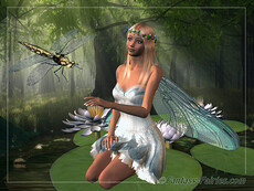 fairy sitting on lilypad with dragonfly