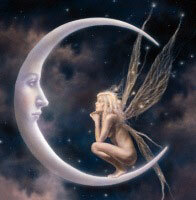 fairy talking to the moon