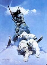 warrior being led by polar bears