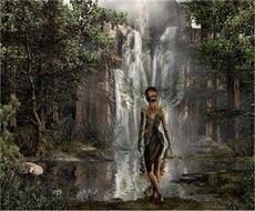 fairy in front of waterfall