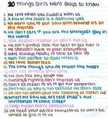 20 things girls want guys to know